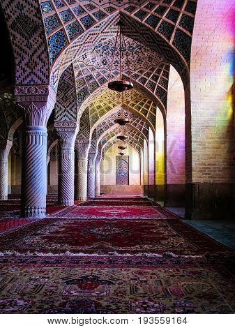 Interior of Nasir ol Molk Mosque - 27-02-2009 Shiraz Iran