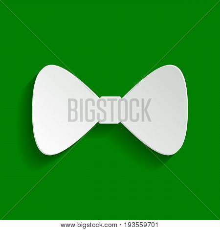 Bow Tie icon. Vector. Paper whitish icon with soft shadow on green background.