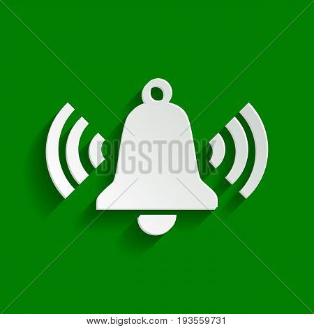 Ringing bell icon. Vector. Paper whitish icon with soft shadow on green background.