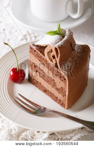 Chocolate Cake Decorated With Mint And Powdered Sugar Close-up. Vertical