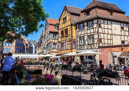Colmar France - May 26 2017: Traditional old half-timbered houses in the historic city of Colmar. Alsace. France.