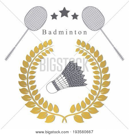 Abstract vector illustration logo for the game of badminton, flying shuttlecock on racket.