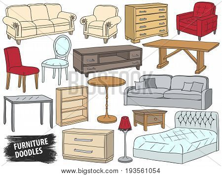 Furniture doodles set. Interior design sketch collection. Home accessories. Modern armchair. Retro sofa. Wooden table. Room interior. Bed lamp and chest of drawers. Scrawl furniture vector.