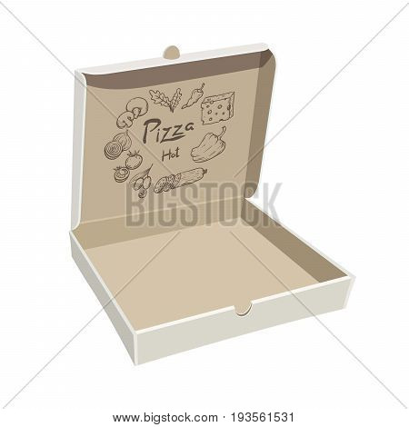 Open empty pizza box. Sample packaging on white background