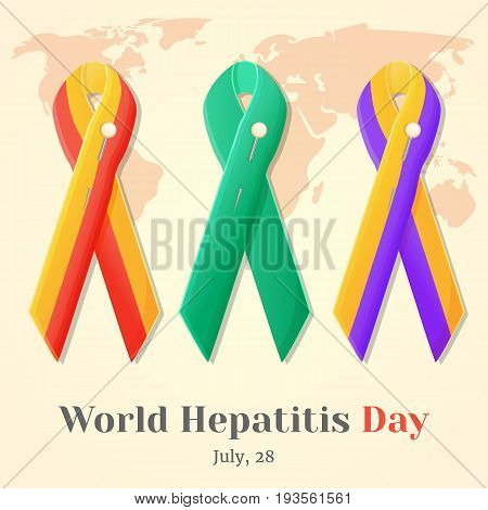 World Hepatitis Day. Set of colorful awareness ribbons isolated over world map in simple cartoon style. Vector illustration. Holiday Collection.