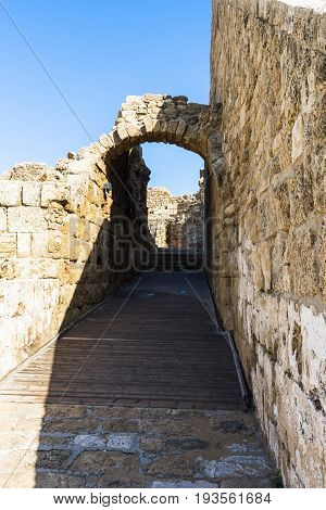 Ruined arch of an ancient amphitheatre in Caesarea. Israel.
