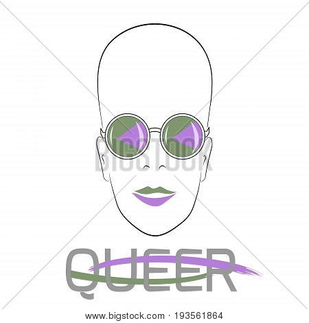 Stylized face with glasses using original colors for gay parade. Text Queer. Unconventional sexual orientation. Vector design