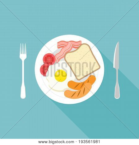 american breakfast, bread, sausage, eggs, bacon, tomato, fork and knife in flat design vector in aerial view