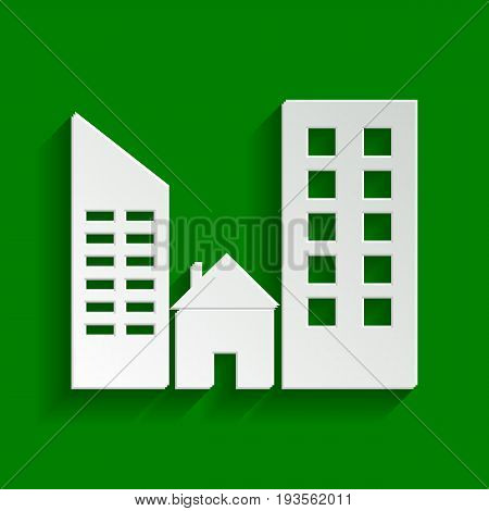 Real estate sign. Vector. Paper whitish icon with soft shadow on green background.