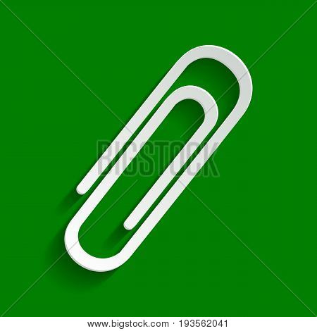 Clip sign illustration. Vector. Paper whitish icon with soft shadow on green background.