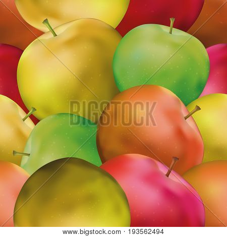 Fruit Seamless Background with Green, Yellow and Red Apples, Tile Pattern for Your Design. Eps10, Contains Transparencies. Vector