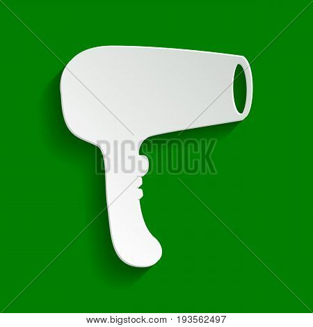 Hair Dryer sign. Vector. Paper whitish icon with soft shadow on green background.