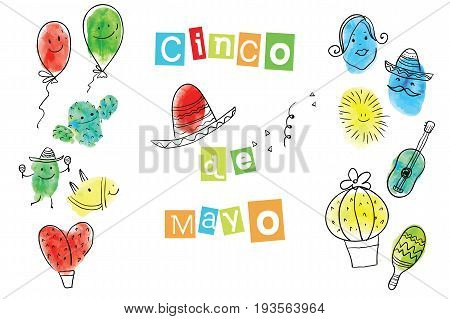 Greeting card of the Cinco de Mayo Day. Fingerprint Art collection of prints of fingers and paint the outlines of characters of humans and animals. Vector illustration of a creative.