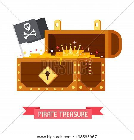 Opened pirate treasure chest with Jolly Roger flag with skull and crossbones. Gold box full of coins vector illustration.