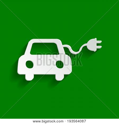 Eco electric car sign. Vector. Paper whitish icon with soft shadow on green background.