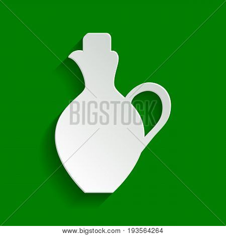 Amphora sign illustration. Vector. Paper whitish icon with soft shadow on green background.