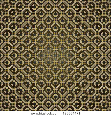 Geometric fine abstract octagonal background. Geometric abstract ornament. Seamless modern black and golden pattern