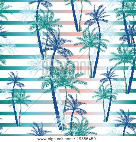 Vector Beautiful Exotic Tropical Summer Pattern With Palm Trees