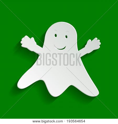 Ghost sign. Vector. Paper whitish icon with soft shadow on green background.