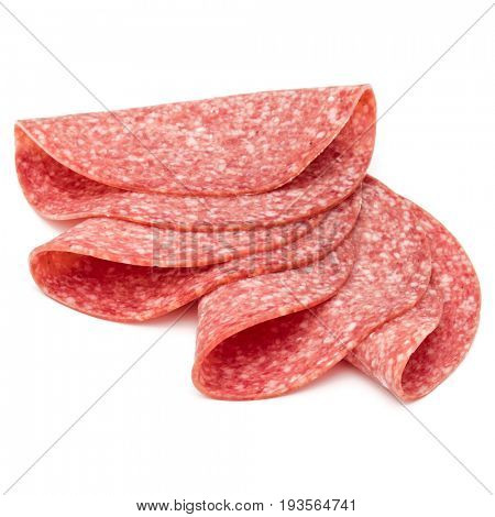 Salami smoked sausage slices isolated on white background