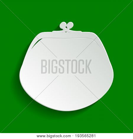 Purse sign illustration. Vector. Paper whitish icon with soft shadow on green background.