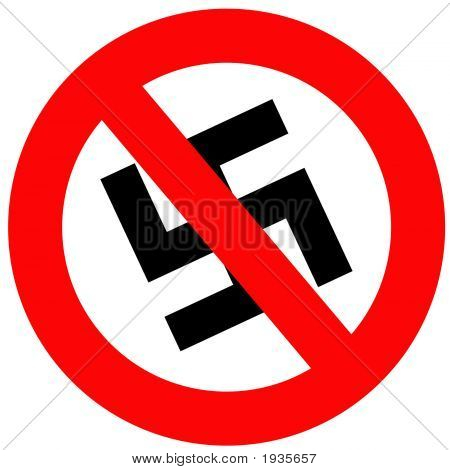 Anti Nazi Sign that is isolated in white poster