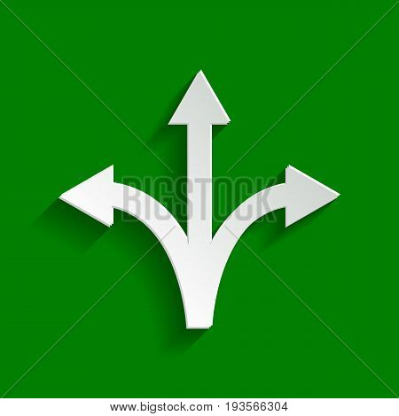 Three-way direction arrow sign. Vector. Paper whitish icon with soft shadow on green background.