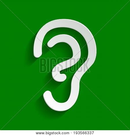 Human anatomy. Ear sign. Vector. Paper whitish icon with soft shadow on green background.