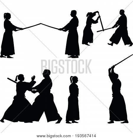 men and women practice aikido martial art