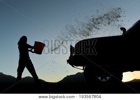 Clearing the land vehicle & washing car