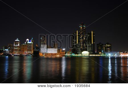 Detroit Citydscape At Night
