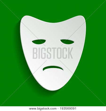 Tragedy theatrical masks. Vector. Paper whitish icon with soft shadow on green background.