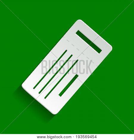 Ticket simple sign. Vector. Paper whitish icon with soft shadow on green background.