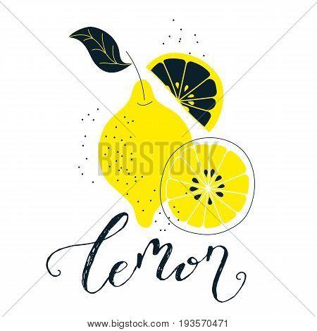 Hand drawn lemon illustration with lettering. Fresh natural fruit background. Vector banner, paster, package design. Natural food market concept. Organic design