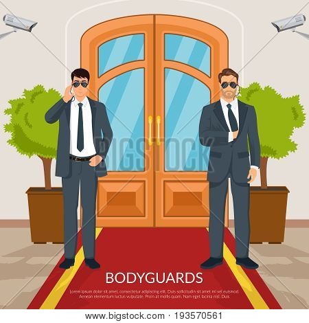 Bodyguard at doors with men red carpet and camera flat vector illustration