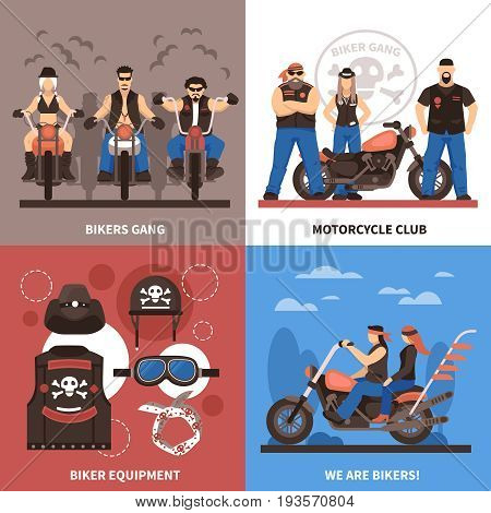 Bikers concept icons set with bikers gang symbols flat isolated vector illustration