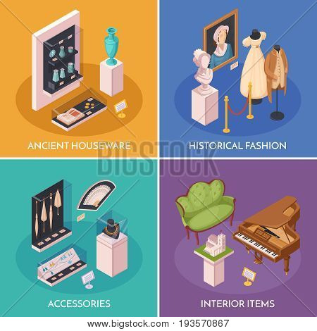 Museum exhibition 2x2 design concept with interior items ancient houseware historical fashion and accessories square compositions isometric vector illustration