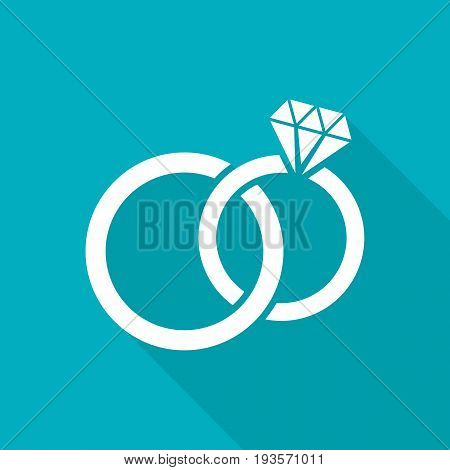White vector wedding rings flat icon long shadow