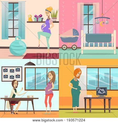 Four square flat pregnancy icon set with exercise for pregnant women room for a newborn prenatal doctors appointment vector illustration
