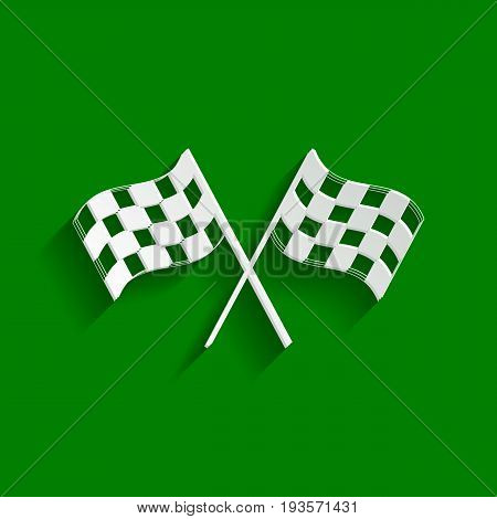 Crossed checkered flags logo waving in the wind conceptual of motor sport. Vector. Paper whitish icon with soft shadow on green background.