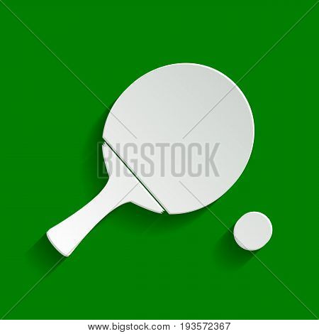 Ping pong paddle with ball. Vector. Paper whitish icon with soft shadow on green background.