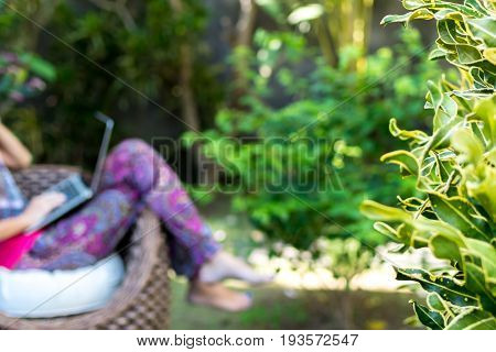 Young beautiful woman working with laptop at outdoor tropical park, smile and happy relaxing feeling in the morning, freelancer working businesswoman lifestyle concept. Bali island.