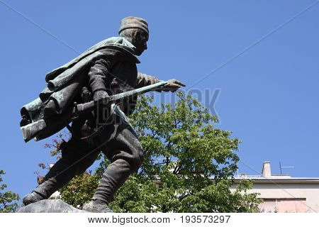 Belgrade, Serbia: june 30. 2017 - Statue of Duke Vuk (Vojin Popovic) in Belgrade, Serbia.