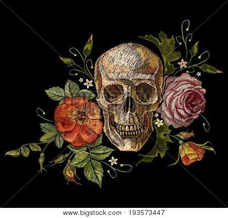 Embroidery skull and roses. Dia de muertos day of the dead art. Gothic romanntic embroidery human skulls red roses and pink peonies clothes template and t-shirt design vector