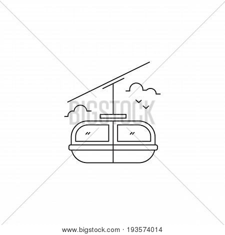 Cable car vector thin line icon. Black on white isolated symbol. Logo template, element for travel agency products, tour brochure, excursion banner. Simple mono linear modern design.