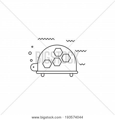 Turtle vector thin line icon. Black on white isolated symbol. Logo template, element for travel agency products, tour brochure, excursion banner. Simple mono linear modern design.