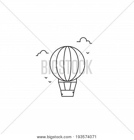 Hot air balloon vector thin line icon. Black on white isolated symbol, aerostat. Logo template, element for travel agency products, tour brochure, excursion banner. Simple mono linear modern design.