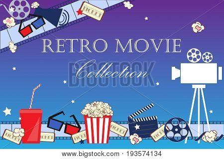 Cinema event background. Flat movie background with cinema attributes. Film strip camera reel masks popcorn and 3D glasses