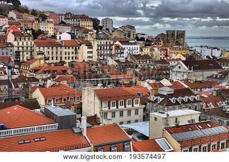 Panoramic view of Lisbon with the Lisbon Cathedral. Portugal