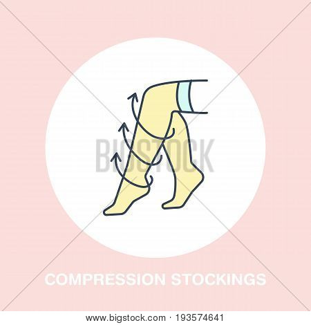 Compression stockings icon, line logo. Flat colored vector sign for surgery rehabilitation equipment shop.
